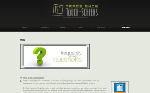 Screenshot of FAQ Page tradeshowtouchscreens.com - FAQs     Trade Show TouchScreens - captured Oct. 7, 2014