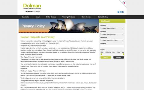 Privacy Policy - Legal Recruitment Sydney,  Legal Recruitment Companies, Jobs In Legal - Dolman
