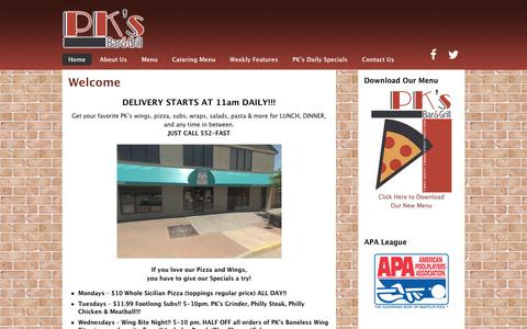 Screenshot of Home Page pksbarandgrill.com - PK's Bar and Grill – Delivery starts at 11 am daily! - captured July 10, 2016