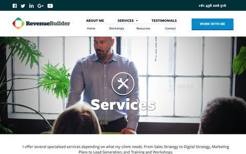 Screenshot of Services Page revenuebuilder.com.au - Services - RevenueBuilder - captured Nov. 10, 2017