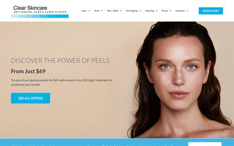 Screenshot of Home Page clearskincareclinics.com.au - Clear Skincare Clinics - Anti Ageing, Acne + Laser Clinics - captured Aug. 22, 2019