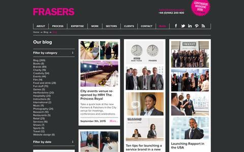 Screenshot of Blog frasers.eu.com - FRASERS | Branding, Design and Marketing Agency blog - captured Jan. 8, 2016