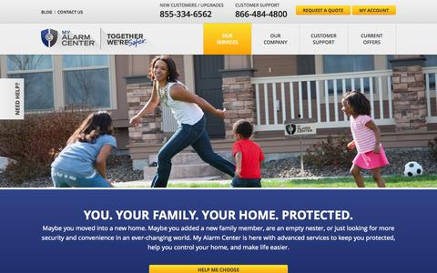 Screenshot of Services Page myalarmcenter.com - Our Home Security & Home Automation Services - captured Nov. 11, 2015