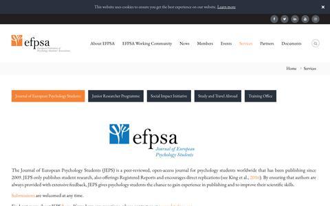 Screenshot of Services Page efpsa.org - Services - EFPSA - captured Sept. 25, 2018