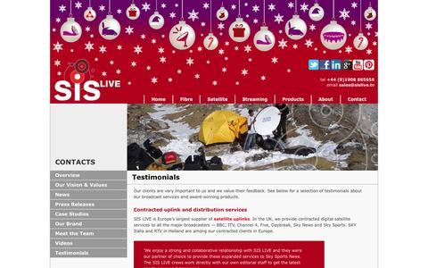 Screenshot of Testimonials Page sislive.tv - Testimonials - About - SIS LIVE - captured Dec. 19, 2015
