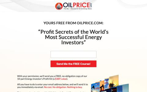 Screenshot of Signup Page oilprice.com - Oil Price Market Intelligence - captured Nov. 8, 2018