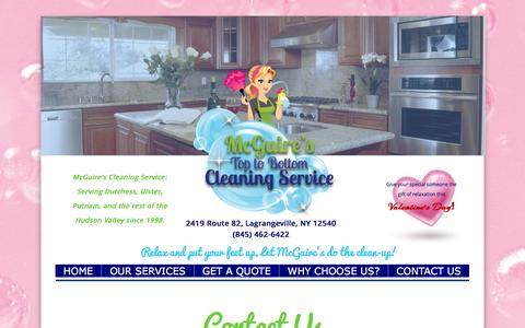 Screenshot of Contact Page mcguirescleaning.com - Our Services - captured Feb. 12, 2016