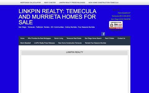 Screenshot of Home Page linkpinrealty.com - 55+ Communities in the Colony Murrieta and Four Seasons Murrieta - captured May 20, 2017