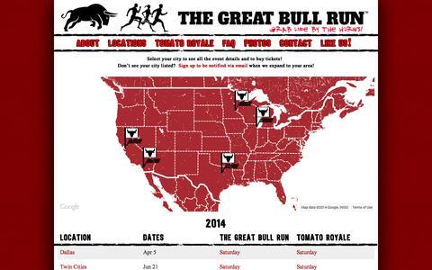 Screenshot of Locations Page thegreatbullrun.com - The Great Bull Run - Festival Locations | The Great Bull Run - captured Sept. 22, 2014