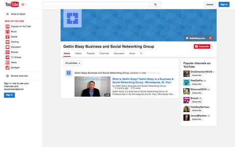 Screenshot of YouTube Page youtube.com - Gettin Bizzy Business and Social Networking Group  - YouTube - captured Oct. 23, 2014
