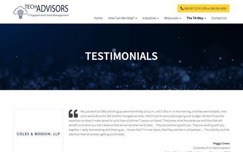 Screenshot of Testimonials Page tech-adv.com - Testimonials - Boston, Newton, Medfield | Tech Advisors - captured Oct. 18, 2018