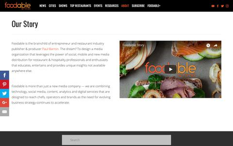 Screenshot of About Page foodabletv.com - Our Story — Foodable Network - captured Oct. 2, 2018