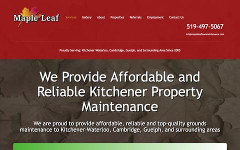 Screenshot of Services Page mapleleaflawnmaintenance.com - Kitchener Property Maintenance - Services | Maple Leaf Maintenance - captured July 13, 2018