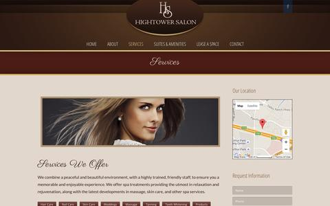 Screenshot of Services Page hightowersalons.com - Services › High Tower Salon ‹ 972-910-8858 | 665 Interstate 635, Irving, TX 75063 - captured Feb. 4, 2016