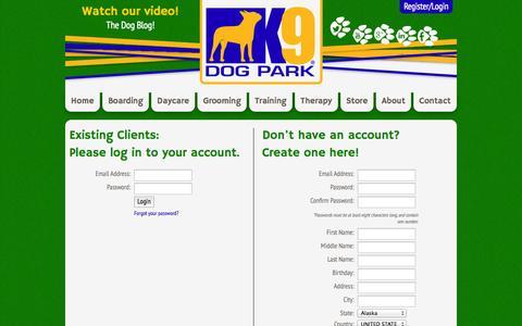 Screenshot of Login Page k9dogpark.com captured Sept. 30, 2014