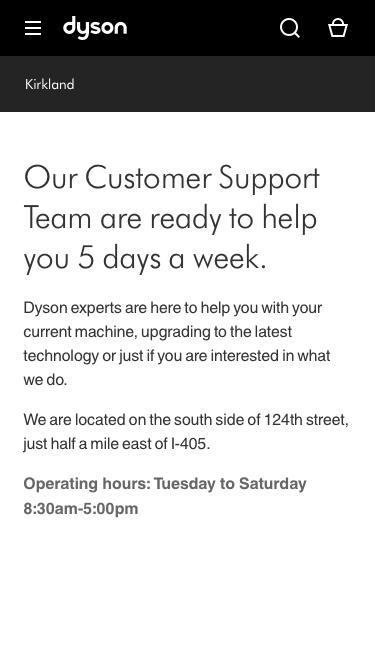 Screenshot of Support Page  dyson.com - Kirkland WA Service Center | Dyson