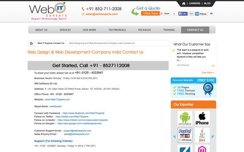 Screenshot of Contact Page webitexperts.com - Contact Us WIE Software | A Professional Web Design and Development Company India - captured Oct. 26, 2014