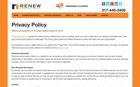 Screenshot of Privacy Page renewservices.com - Privacy Policy | ReNew Services Inc. - captured Nov. 9, 2017