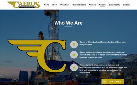 Screenshot of Jobs Page caerusoilandgas.com - Who We Are | Caerus Oil and Gas - captured Jan. 24, 2016