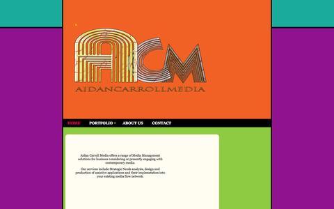 Screenshot of Home Page aidancarroll.com - Aidan Carroll Media - - captured Oct. 4, 2014