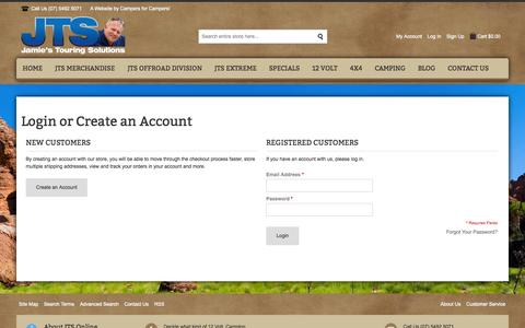 Screenshot of Login Page jtsonline.com.au - Customer Login | Jamie's Touring Solutions - captured Oct. 6, 2014