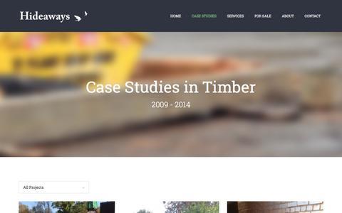 Screenshot of Case Studies Page hide-aways.co.uk - Case Studies | Hideaways – Reclaimed Timber and Cladding - captured Jan. 29, 2016