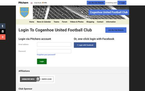 Screenshot of Login Page pitchero.com - Cogenhoe United Football Club - captured June 22, 2016