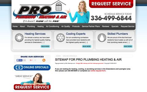 Screenshot of Site Map Page proplumbingserv.com - Sitemap of Website Pages | Pro Plumbing Heating & Air - captured Jan. 23, 2016