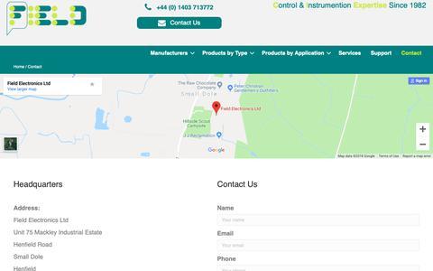 Screenshot of Contact Page fieldelectronics.com - Contact - Field Electronics Ltd - captured Oct. 10, 2018
