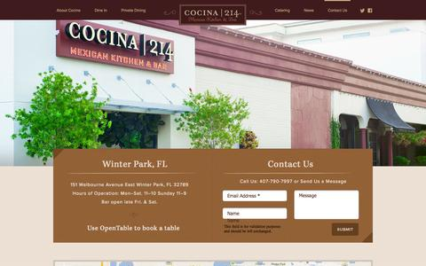 Screenshot of Contact Page Locations Page cocina214.com - Contact Us «  Cocina 214 - captured Oct. 23, 2014