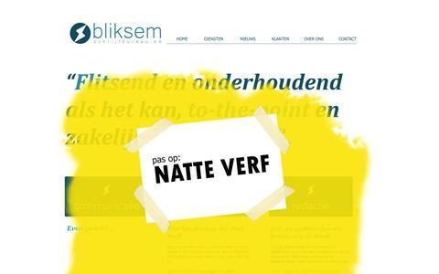 Screenshot of Testimonials Page bliksemschrijfbureau.be - Diensten Bliksem Schrijfbureau - journalistiek, copywriting en redactie - captured Oct. 29, 2014