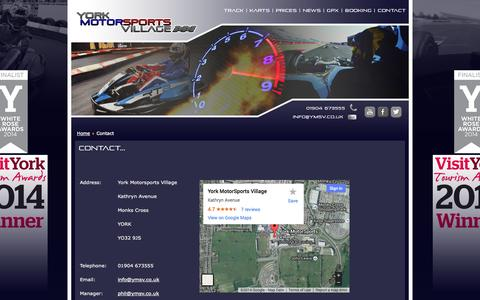 Screenshot of Contact Page karting.uk.com - York MotorSports Village - Contact - captured Oct. 5, 2014
