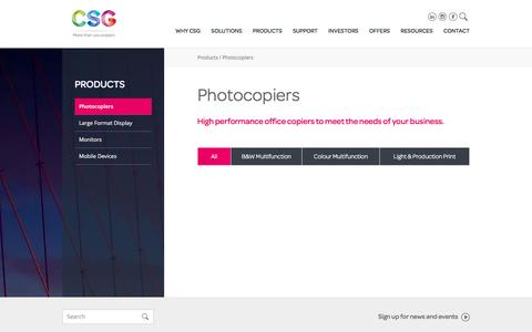 Screenshot of Products Page csg.com.au - Photocopiers | Best Commercial Photocopiers | CSG - captured Jan. 23, 2016