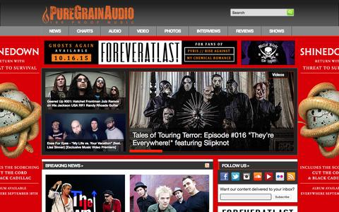 Screenshot of Home Page puregrainaudio.com - PureGrainAudio.com - Rock & Metal News, Free MP3s, Interviews, Reviews, Videos, Contests & More - captured Oct. 1, 2015