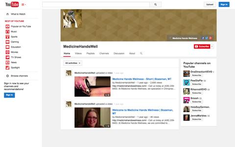 Screenshot of YouTube Page youtube.com - MedicineHandsWell  - YouTube - captured Oct. 23, 2014