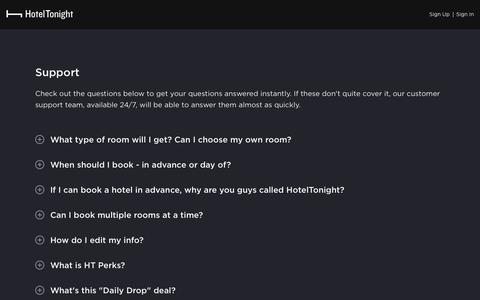 Screenshot of Support Page hoteltonight.com - Last Minute Hotel Deals at Great Hotels - captured May 8, 2019