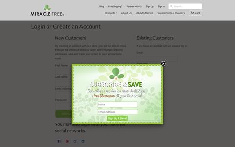 Screenshot of Signup Page miracletree.co - Create Account                             Miracle Tree - captured Dec. 8, 2015