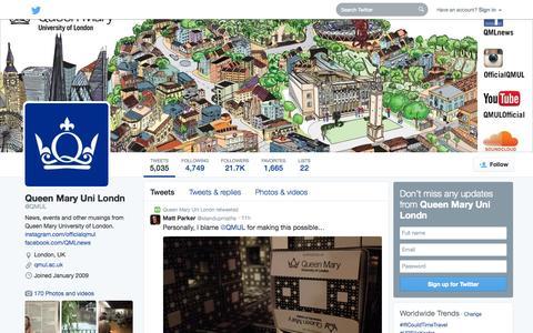 Screenshot of Twitter Page twitter.com - Queen Mary Uni Londn (@QMUL) | Twitter - captured Oct. 22, 2014