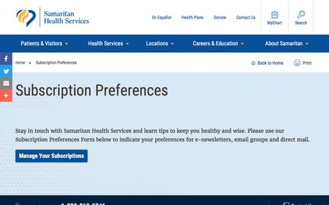 Screenshot of Signup Page samhealth.org - Subscription Preferences | Samaritan Health Services - captured Nov. 19, 2016