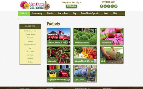Screenshot of Products Page vanputte.com - Our Products | Rochester NY | Van Putte Gardens - captured Sept. 29, 2018
