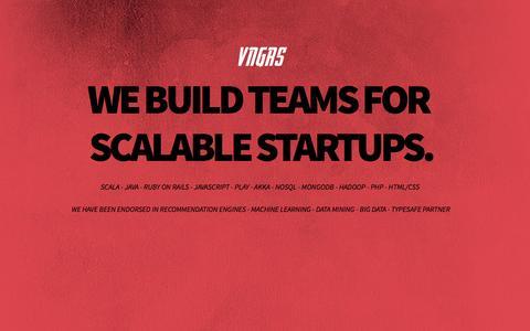 Screenshot of Home Page vngrs.com - VNGRS - We build teams for scalable Startups. - captured June 17, 2015