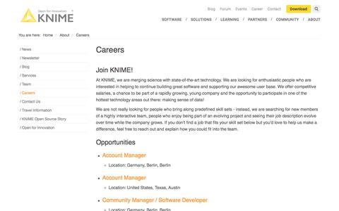 Screenshot of Jobs Page knime.com - Careers | KNIME - captured July 19, 2018