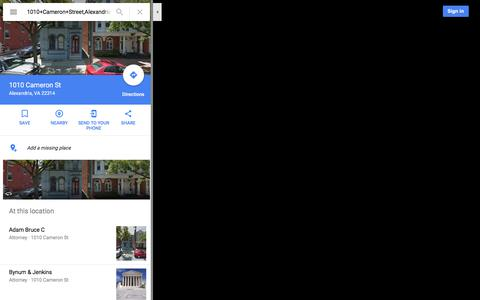 Screenshot of Maps & Directions Page google.com - 1010 Cameron St - Google Maps - captured Nov. 5, 2017