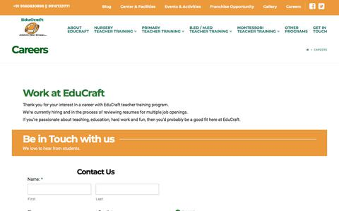 Screenshot of Jobs Page educraft.co.in - Careers | Educraft - captured July 16, 2018