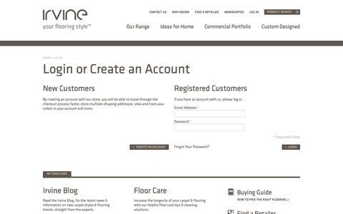 Screenshot of Login Page irvineflooring.co.nz - Customer Login | Irvine - captured Oct. 6, 2014