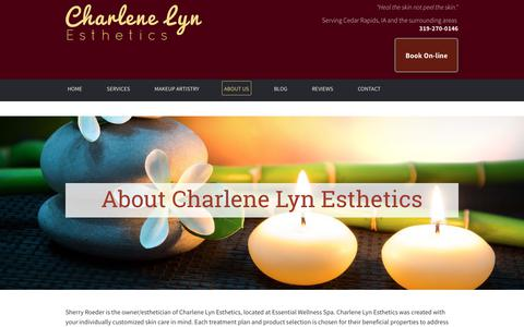 Screenshot of About Page charlenelyn.com - About Charlene Lyn Esthetics Cedar Rapids, IA Skin Care - captured Sept. 27, 2018