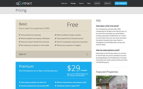 Screenshot of Signup Page Pricing Page ocontract.com - oContract - Buy and Sell Your Next Investment Property - captured Oct. 25, 2014
