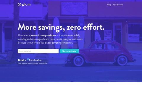 Screenshot of Home Page withplum.com - More savings, zero effort. - captured June 2, 2016