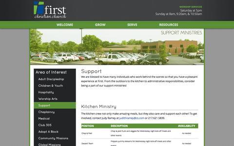 Screenshot of Support Page firstdecatur.org - Support - First Christian Church of Decatur - captured Oct. 6, 2014