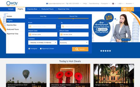 Screenshot of Home Page oway.com.mm - Oway Travel: Search Myanmar Hotels, Cheap Flights, Vacations, Tours - captured Nov. 1, 2018
